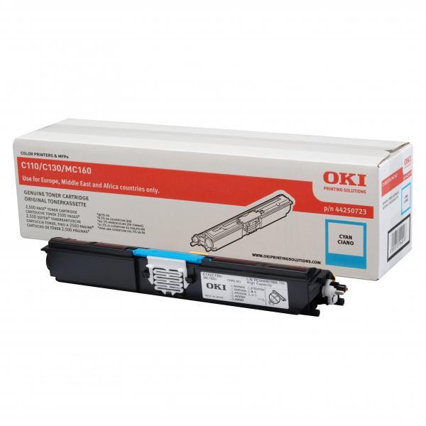 OKI originální toner 44250723, cyan, 2500str., OKI C110, 130n, MC160