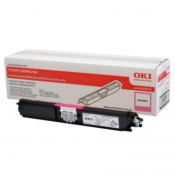 OKI originální toner 44250722, magenta, 2500str., OKI C110, 130n, MC160