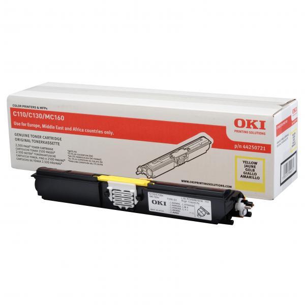 OKI originální toner 44250721, yellow, 2500str., OKI C110, 130n, MC160