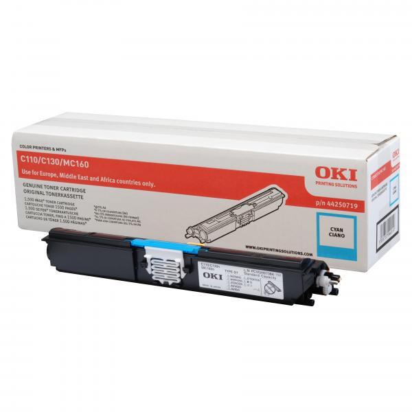 OKI originální toner 44250719, cyan, 1500str., OKI C110, 130n, MC160