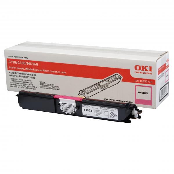 OKI originální toner 44250718, magenta, 1500str., OKI C110, 130n, MC160
