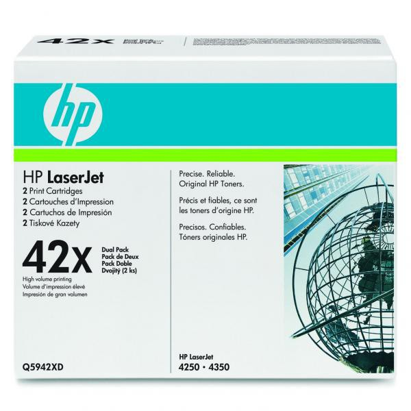 HP originální toner Q5942XD, black, 40000 (2x20000)str., 42X, high capacity, HP LaserJet 4250, 4350, Dual pack 2ks