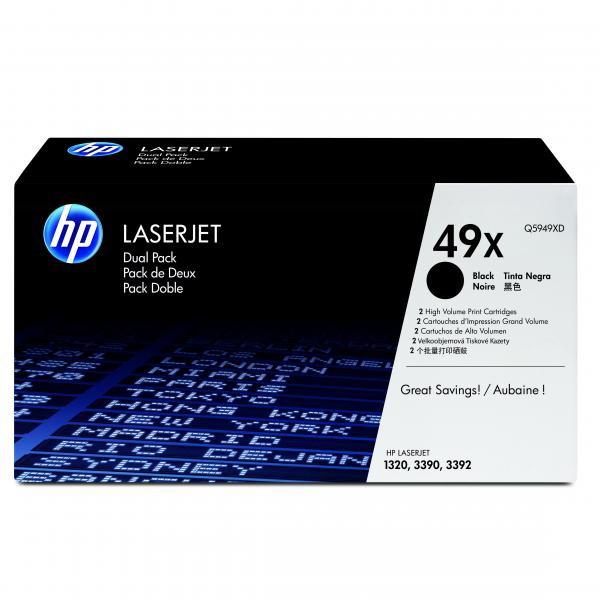 HP originální toner Q5949XD, black, 12000 (2x6000)str., 2x49X, high capacity, HP LaserJet 1320, 3390, 3392, Dual pack 2ks