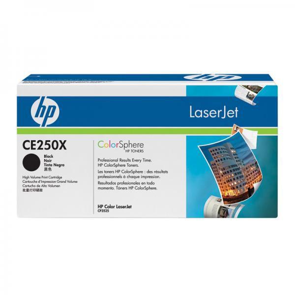HP originální toner CE250X, black, 10500str., HP Color LaserJet CP3525