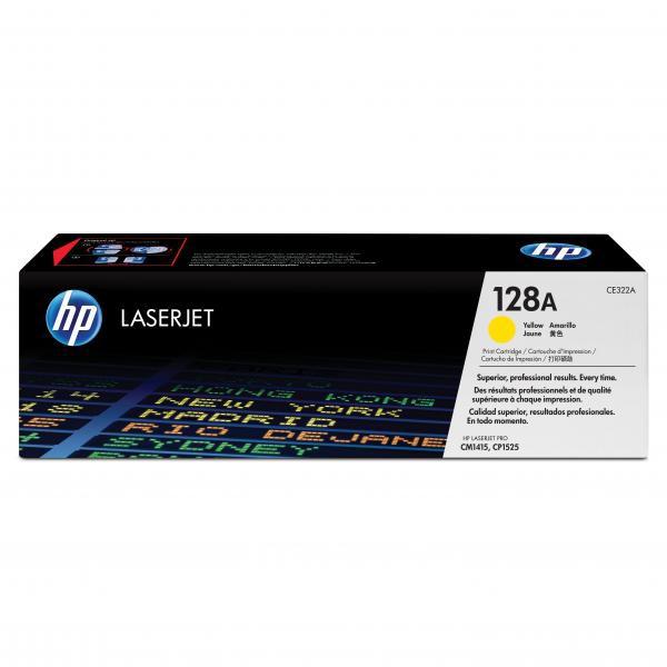 HP originální toner CE322A, yellow, 1300str., 128A, HP LaserJet Pro CP1525n, 1525nw, CM1415fn, 1415fnw