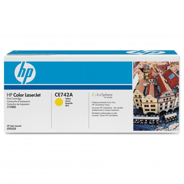 HP originální toner CE742A, yellow, 7300str., HP Color LaserJet CP5225