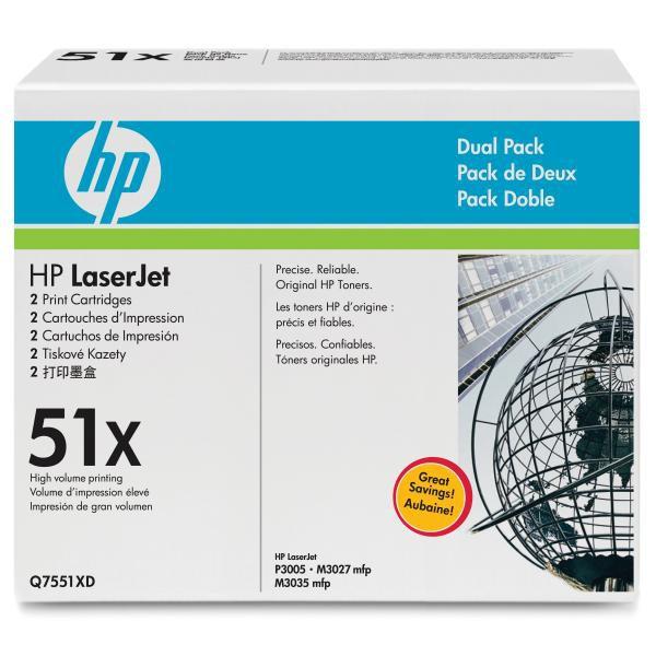 HP originální toner Q7551XD, black, 13000str., 51X, HP LaserJet P3005, M3035mfp, M3027mfp, Dual pack dual pack