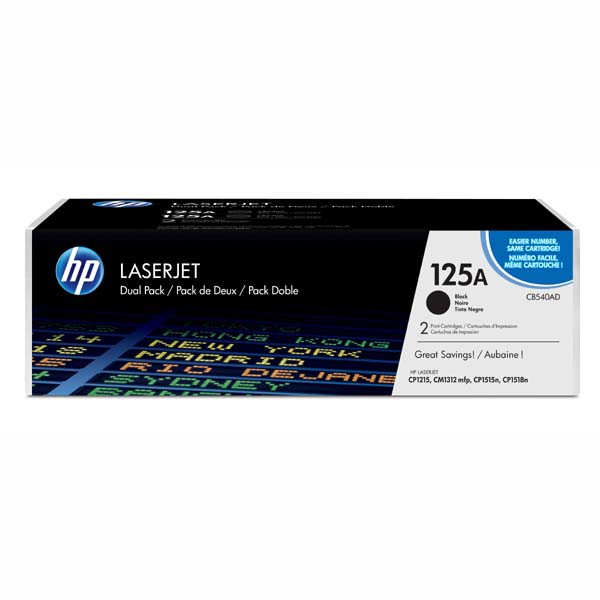 HP originální toner CB540AD, black, 2200str., 125A, HP Color LaserJet CP1215, 1515, 1518, Dual pack 2ks