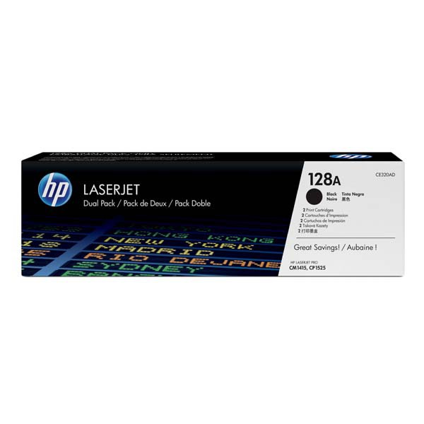 HP originální toner CE320AD, black, 4000 (2x2000)str., 128A, HP LaserJet Pro CP1525n, 1525nw, CM1415fn, 1415fnw, Dual pack