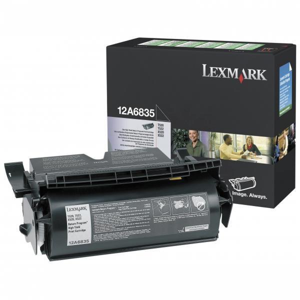 Lexmark originální toner 12A6835, black, 20000str., return, Lexmark T520, N, D, DN, T522, X520 MFP