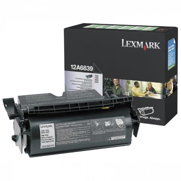 Lexmark originální toner 12A6839, black, 20000str., return, Lexmark T520, N, D, DN, T522, X520 MFP, label application