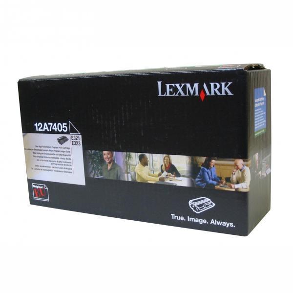 Lexmark originální toner 12A7405, black, 6000str., return, Lexmark E321, E323