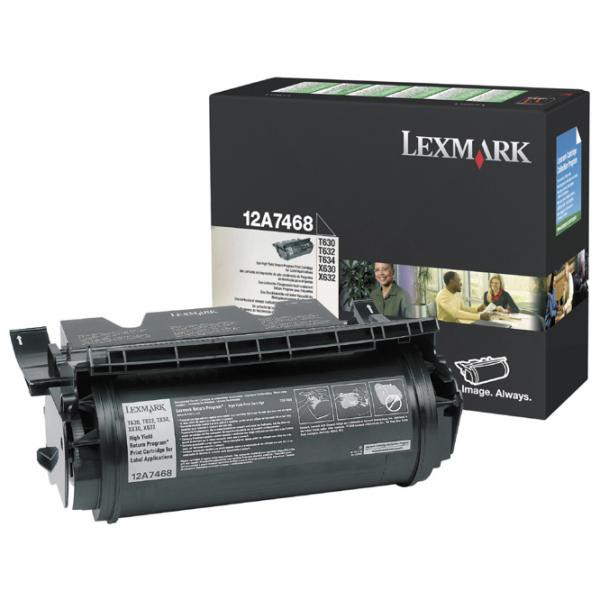 Lexmark originální toner 12A7468, black, 21000str., return, Lexmark T630, T632, T634, X630, X632e, label application