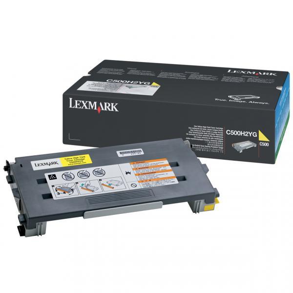 Lexmark originální toner C500H2YG, yellow, 3000str., return, Lexmark C500, X500
