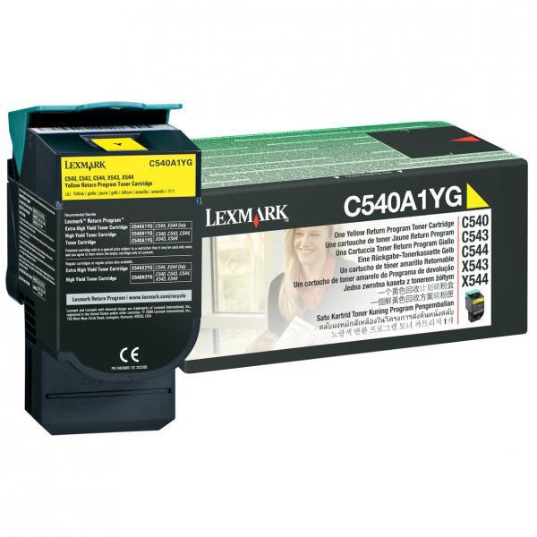 Lexmark originální toner C540A1YG, yellow, 1000str., return, Lexmark C540, X543, X544, X543, X544