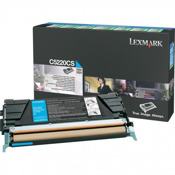 Lexmark originální toner C5220CS, cyan, 3000str., return, Lexmark C522n, C524