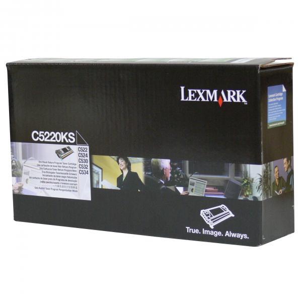 Lexmark originální toner C5220KS, black, 4000str., return, Lexmark C522n, C524