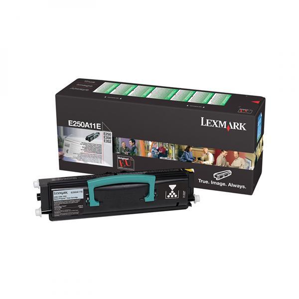 Lexmark originální toner E250A11E, black, 3500str., return, Lexmark E250, E35x