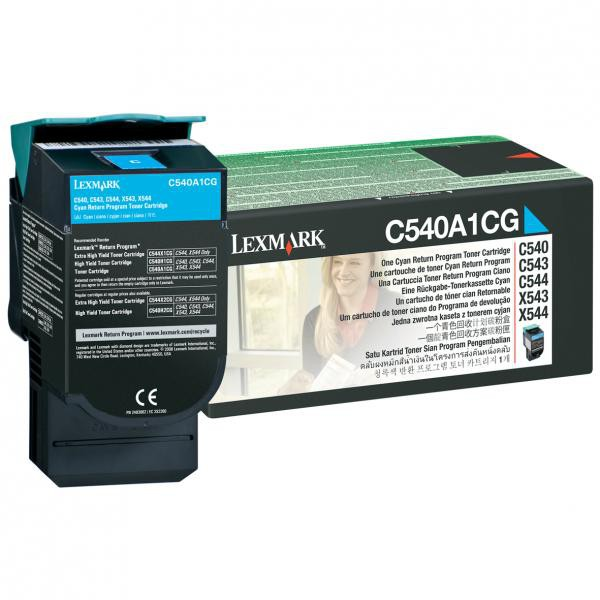 Lexmark originální toner C540A1CG, cyan, 1000str., Lexmark C540, X543, X544, X543, X544
