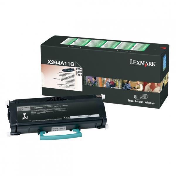 Lexmark originální toner X264A11G, black, 3500str., return, Lexmark X264, X363, X364