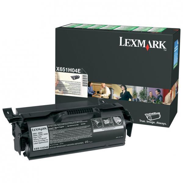 Lexmark originální toner X651H04E, black, 25000str., return, Lexmark X651,X652,X654,X656,X658