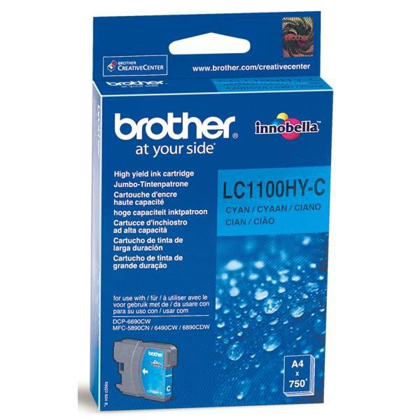 Brother originální ink LC-1100HYC, cyan, 750str., high capacity, Brother DCP-6690CW, MFC-6490CW