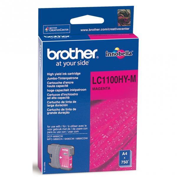 Brother originální ink LC-1100HYM, magenta, 750str., high capacity, Brother DCP-6690CW, MFC-6490CW