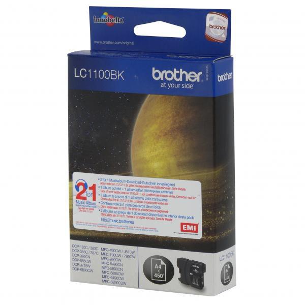 Brother originální ink LC-1100BK, black, 500str., Brother DCP-6690CW, MFC-6490CW