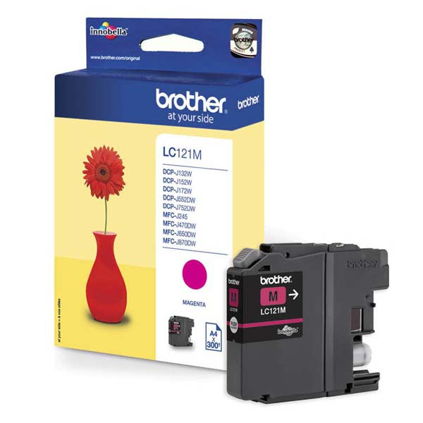 Brother originální ink LC-121M, magenta, 300str., Brother DCP-J552DW, MFC-J470DW