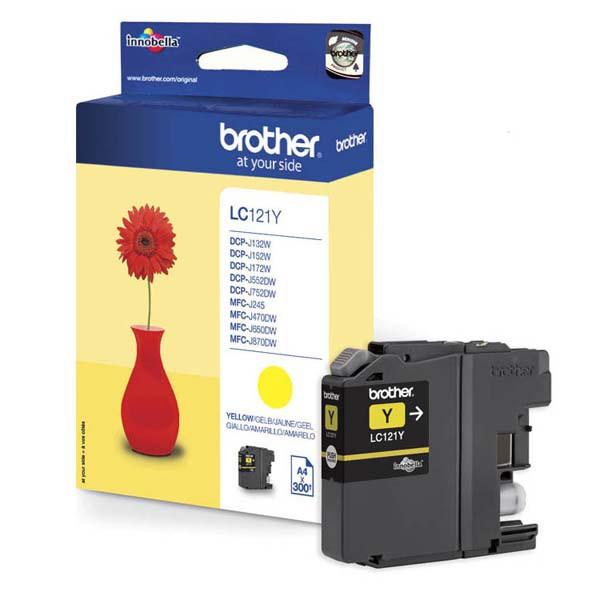 Brother originální ink LC-121Y, yellow, 300str., Brother DCP-J552DW, MFC-J470DW