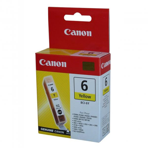 Canon originální ink BCI6Y, yellow, 280str., 13 4708A002, Canon S800, 820, 820D, 830D, 900, 9000, i950