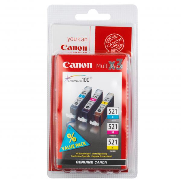 Canon originální ink blistr, CLI521, cyan/magenta/yellow, 3x9ml, 2934B010, 2934B007, Canon iP3600, iP4600, MP620, MP630, MP980