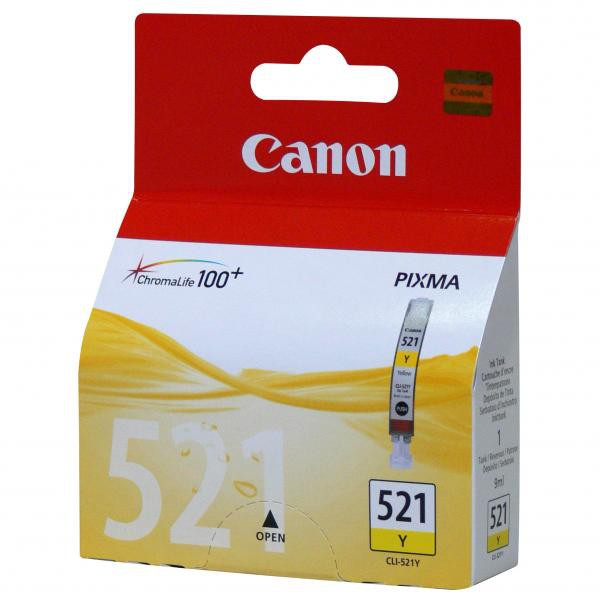 Canon originální ink CLI521Y, yellow, 505str., 9ml, 2936B001, Canon iP3600, iP4600, MP620, MP630, MP980