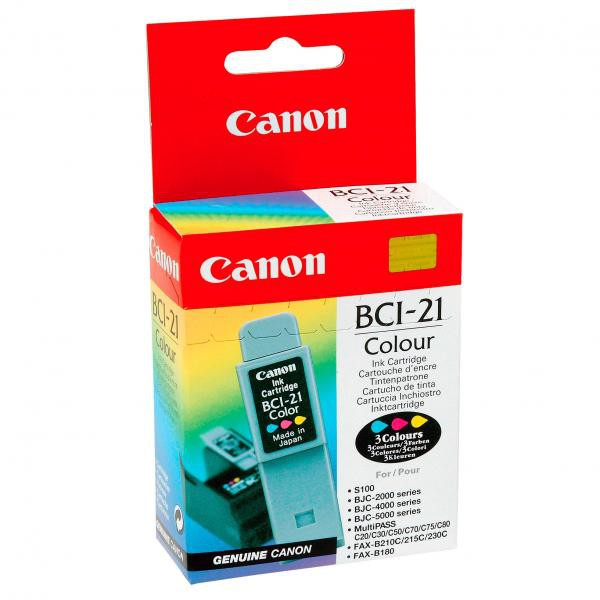 Canon originální ink blistr s ochranou, BCI21C, color, 120str., 0955A350, Canon BJ-C4000, 2000, 4100, 4400, 4650, 5500