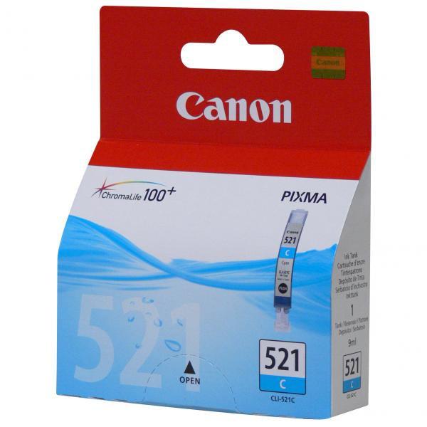 Canon originální ink blistr s ochranou, CLI521C, cyan, 505str., 9ml, 2934B009, 2934B005, Canon iP3600, iP4600, MP620, MP630, MP980