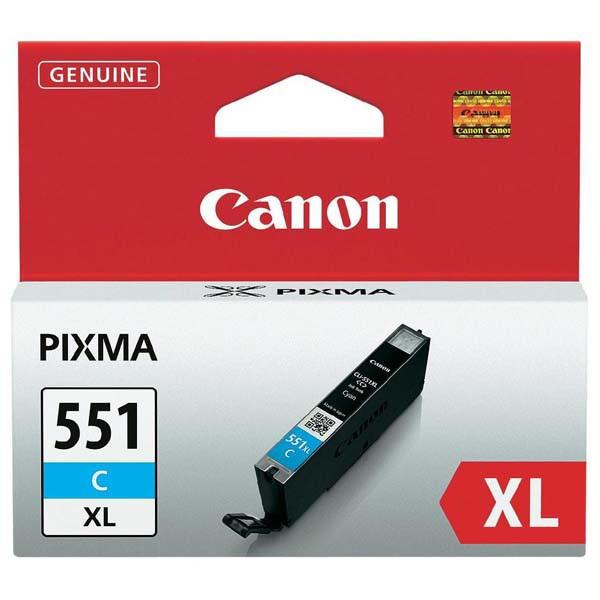 Canon originální ink CLI551C XL, cyan, 11ml, 6444B001, high capacity, Canon PIXMA iP7250, MG5450, MG6350, MG7550