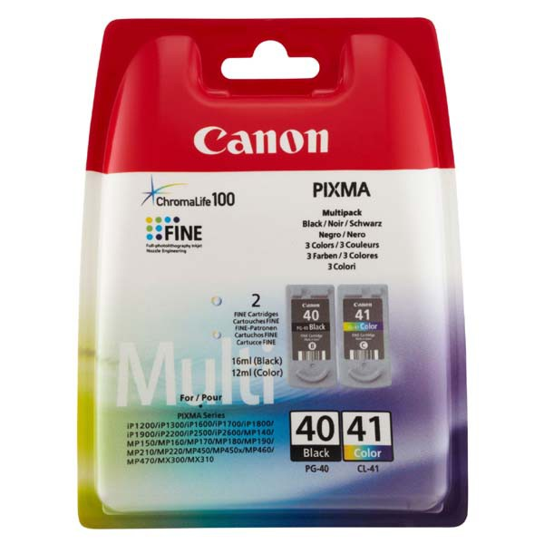 Canon originální ink blistr s ochranou, PG40/CL41 multipack, black/color, 16,9ml, 0615B051, Canon iP1600, 2200, MP150, 170, 450
