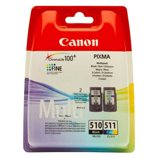 Canon originální ink blistr, PG-510/CL-511, black/color, 220, 245str., 9ml, 2970B010, Canon MP240, 260, 270, 480
