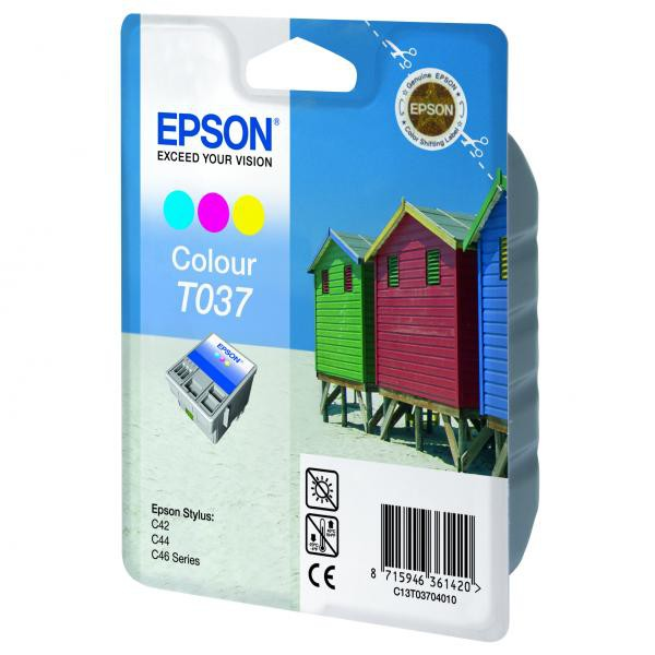 Epson originální ink C13T037040, color, 180str., 25ml, Epson Stylus C42UX, 46