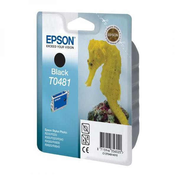 Epson originální ink C13T048140, black, 630str., 13ml, Epson Stylus Photo R200, 220, 300, 320, 340, RX500, 600