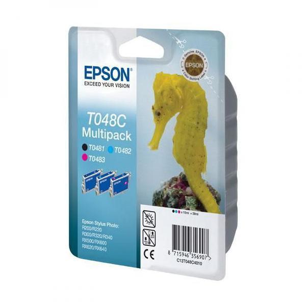 Epson originální ink C13T048C40, cyan/magenta/yellow, 430str., 3x13ml, Epson Stylus Photo R200, 220, 300, 320, 340, 12% úspora