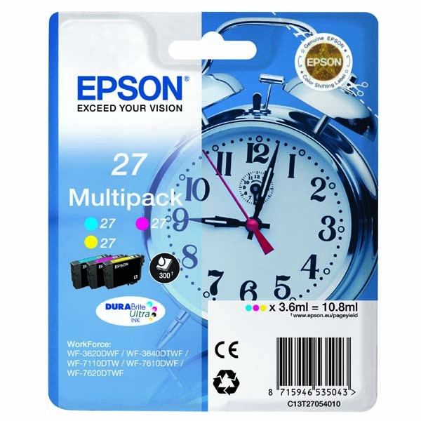 Epson originální ink C13T27054010, 27, color, 3x3,6ml, Epson WF-3620, 3640, 7110, 7610, 7620
