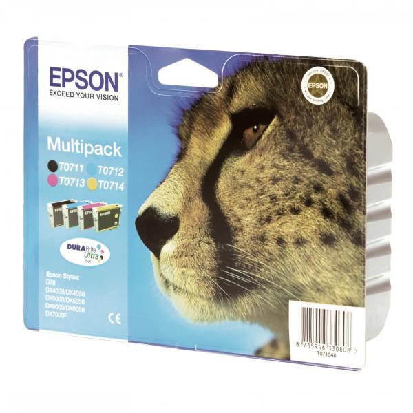 Epson originální ink C13T07154010, CMYK, 23.9ml, Epson D78, DX4000, DX4050, DX5000, DX5050, DX6000, DX605