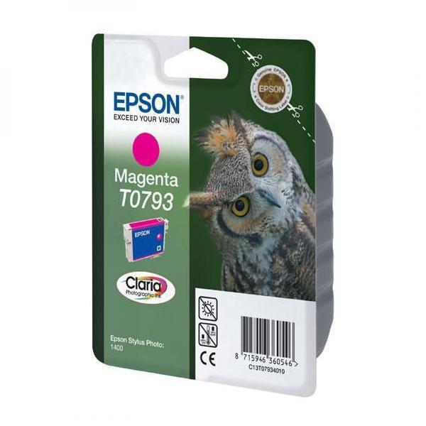 Epson originální ink C13T079340, magenta, 11,1ml, Epson Stylus Photo 1400