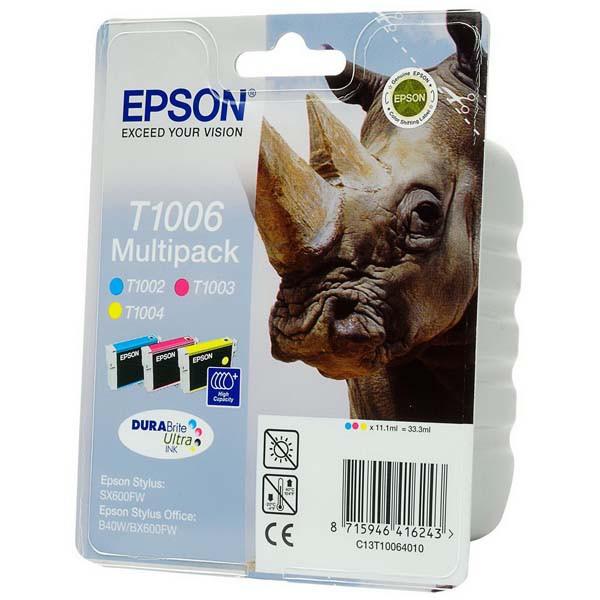 Epson originální ink C13T10064010, cyan/magenta/yellow, 3x11,1ml, Epson Stylus Office B40W, BX310FN, 600FW, SX510W, B1100