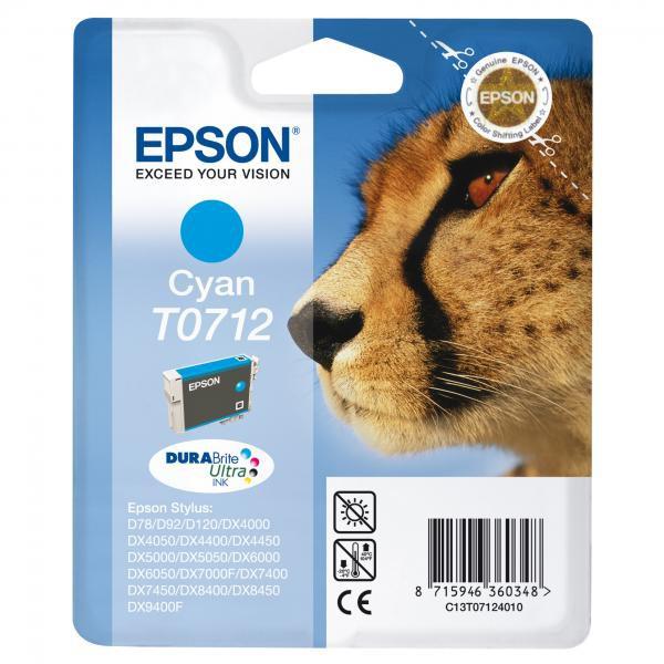 Epson originální ink blistr s ochranou, C13T07124021, cyan, 5,5ml, Epson D78, DX4000, DX4050, DX5000, DX5050, DX6000, DX605