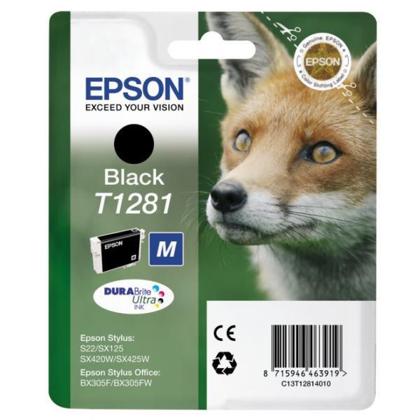 Epson originální ink C13T12814011, T1281, black, 5,9ml, Epson Stylus S22, SX125, 420W, 425W, Stylus Office BX305