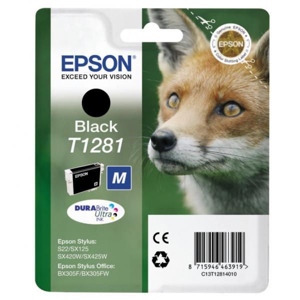 Epson originální ink C13T12814021, T1281, black, 5,9ml, Epson Stylus S22, SX125, 420W, 425W, Stylus Office BX305