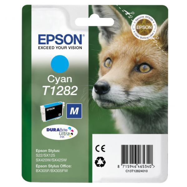 Epson originální ink blistr, C13T12824021, T1282, cyan, 3,5ml, Epson Stylus S22, SX125, 420W, 425W, Stylus Office BX305