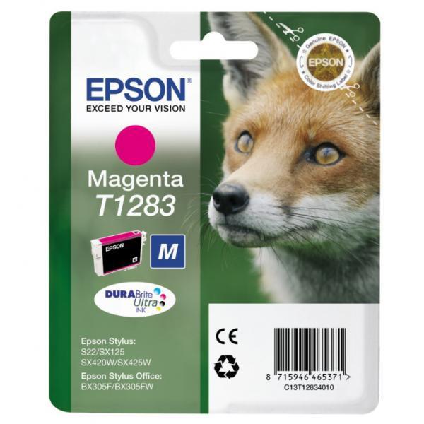 Epson originální ink C13T12834011, T1283, magenta, 3,5ml, Epson Stylus S22, SX125, 420W, 425W, Stylus Office BX305